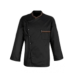 Bragard Chicago Terry Cloth Lined Collar Chef Jacket Black/Orange Piping - 2647-8362