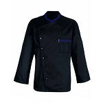 Bragard Chicago Terry Cloth Lined Collar Chef Jacket Black/Blue Piping - 7935-8362