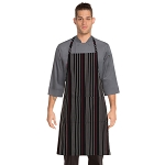 Chefworks Striped Bib Apron Black/White/Red - A550