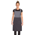 Chefworks Soho Contrast Bib Apron Frost/Gray - ASCB22