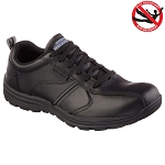 Skechers Mens Work Relaxed Fit Hobbes Lace Up Shoes Black - 77036