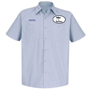 Bartaco Short Sleeve Shirt w/ Patch & Embroidery Light Blue/Navy Stripe - SP20BB