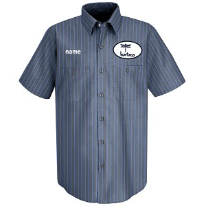 Bartaco Short Sleeve Shirt w/ Patch & Embroidery Grey/Blue Stripe - SP24EX