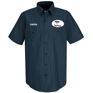 Bartaco Short Sleeve Shirt w/ Patch & Embroidery Navy/Light Blue Twin Stripe - SP24NL
