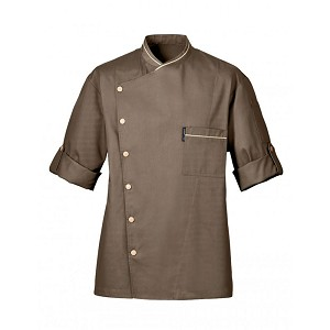 Bragard Chicago Terry Cloth Lined Collar Chef Jacket Taupe - 2647-4813