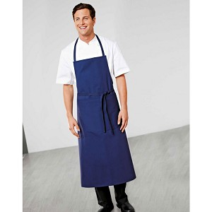 Bragard Travail Bib Apron w/ Wide Pouch Pocket Blue - 8988-2959