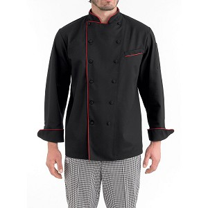 Chefwear Classic Piped Executive Chef Jacket Black/Red Piping - CW5690-P6