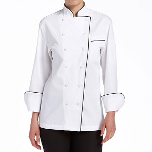 Chefwear Womens Classic Piped Executive Chef Jacket White/Black Piping - CW5695-P1