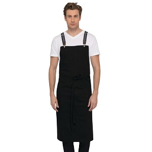 Chefworks Berkeley Chef Bib Apron Jet Black - ACS01JBK