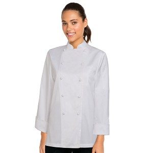 Chefworks Womens Elyse Premium Cotton Chef Jacket White - ECLA