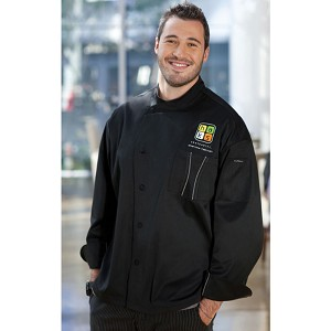 Chefworks Amalfi Signature Series Chef Jacket Black/Gray Piping - SILSBTG