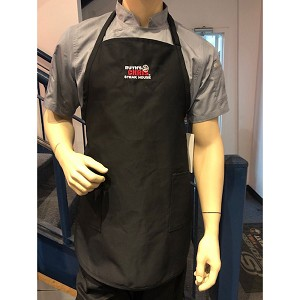 Ruth's Chris Bib Apron w/ 2 Inset Pockets & Logo Black - R-BIB