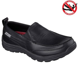 Skechers Mens Work Relaxed Fit Hobbes Slip On Shoes Black - 77005